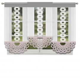 Komplet białych paneli ażurowych z batystu z beżowo-szarymi dodatkami 180x140cm JASMINE