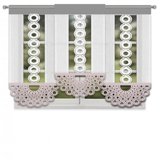 Komplet białych paneli ażurowych z batystu z beżowo-szarymi dodatkami 180x140cm JASMINE - Nie Tylko Firany