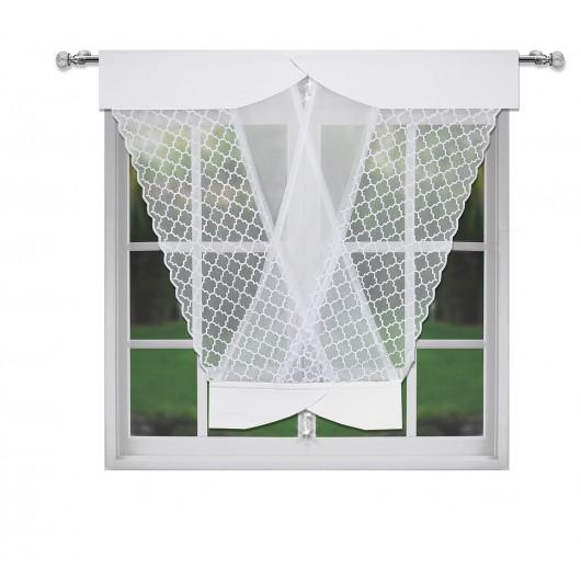 Panel ażurowy biały z kryształkami  120x130cm EMMA - Nie Tylko Firany