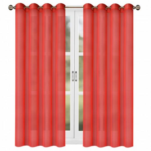 Firana z woalu czerwona na przelotkach 145x250cm ESTELA - Nie Tylko Firany