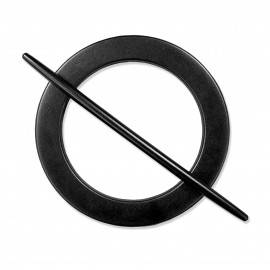 Klamra plastikowa czarne kółko z patyczkiem ELLENA