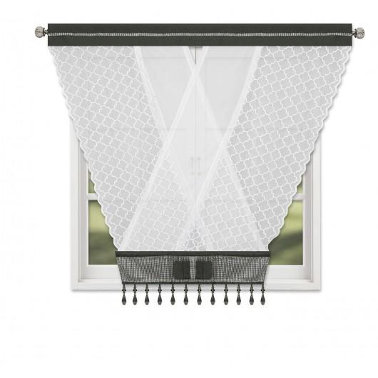 Panel dekoracyjny z cyrkoniami na tunelu biało-czarny 120x130cm LUISA - Nie Tylko Firany