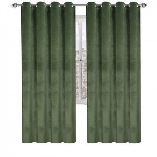 Zasłona welurowa CADENCE na przelotkach 135x250cm kolor: oliwkowy - Nie Tylko Firany