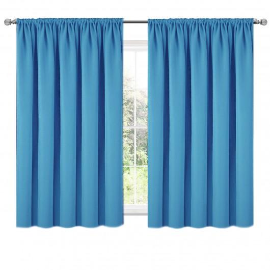 Zasłona z matowej tkaniny błękitna na taśmie 140x160cm ELODIA - Nie Tylko Firany