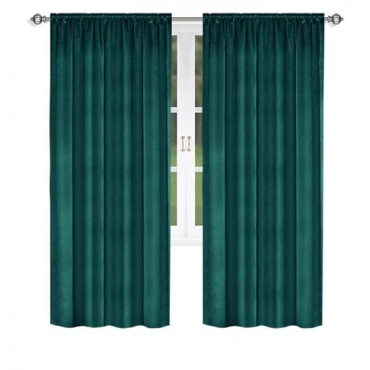 Zasłona welurowa na taśmie zielona 135x250cm DONCIA - Nie Tylko Firany