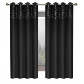 Zasłona ze wzorem na przelotkach czarna 145x250cm ALICE