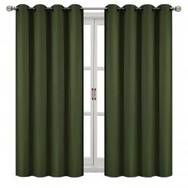 Zasłona z matowej tkaniny ciemna zieleń na przelotkach 145x250cm FELICIA