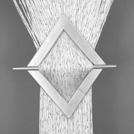 Firana MAKARON biały przeplatany srebrną nicią 100x200cm
