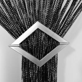 Firana MAKARON czarny przeplatany srebrną taśmą 300x250cm