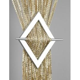Firana MAKARON beżowy przeplatany srebrną taśmą 300x250cm