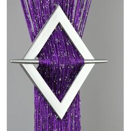 Firana MAKARON fioletowy przeplatany srebrną nicią 100x200cm