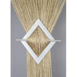 Firana MAKARON beżowy przeplatny srebrną nicią 100x200cm