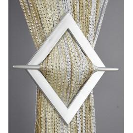 Firana MAKARON beż-biały-ecru przeplatany srebrną taśmą 300x250cm