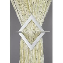 Firana MAKARON ecru przeplatany srebrną taśmą 300x250cm