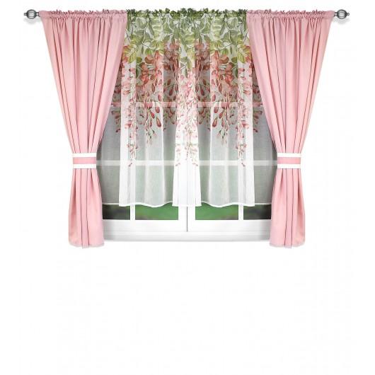 Zestaw firan z zasłonami pudrowy róż 400x155cm MARION - Nie Tylko Firany