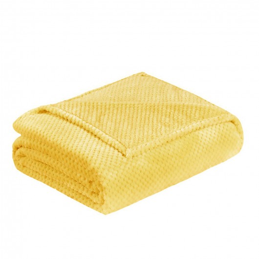 Miękki koc z mikrofibry żółty 160x200cm RICKY - Nie Tylko Firany