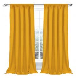 Zasłona z matowej tkaniny żółto-pomarańczowa na taśmie 145x270cm ELODIA