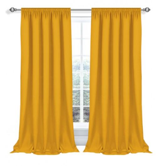 Zasłona z matowej tkaniny żółto-pomarańczowa na taśmie 145x270cm ELODIA - Nie Tylko Firany