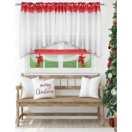 Świąteczna firana woalowa z panelem na taśmie 400x140cm RED REINDEER