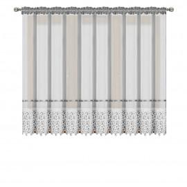 Firana z woalu ozdobiona gipiurą 400x180cm RACHEL