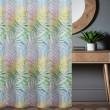 Zasłona w motyw liści na przelotkach szara 145x250cm FLORENCE - Nie Tylko Firany