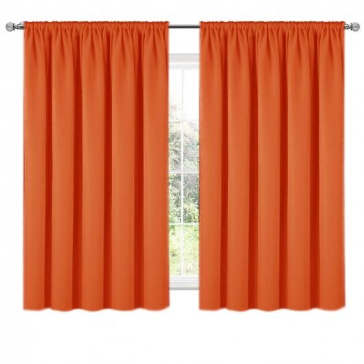 Zasłona z matowej tkaniny pomarańczowa na taśmie 140x160 ELODIA - Nie Tylko Firany