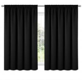 Zasłona z matowej tkaniny czarna na taśmie 140x160 ELODIA