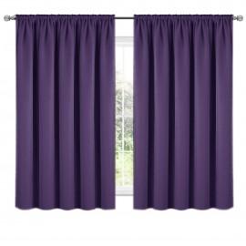 Zasłona z matowej tkaniny ciemno fioletowa na taśmie 140x160cm ELODIA