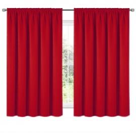 Zasłona z matowej tkaniny czerwona na taśmie 140x160cm ELODIA