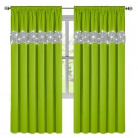 Zasłona z cyrkoniami zielona na taśmie 145x250cm GIOVANNA