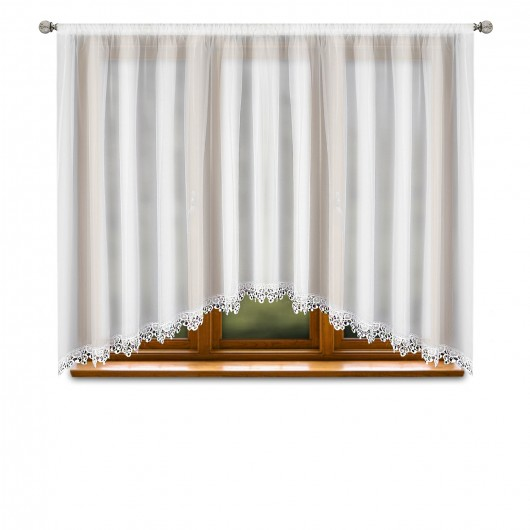 Firana LARA z woalu wykończona gipiurą  400x150cm - Nie Tylko Firany