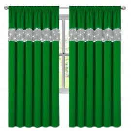 Zasłona z cyrkoniami ciemno zielona na taśmie 145x250cm GIOVANNA